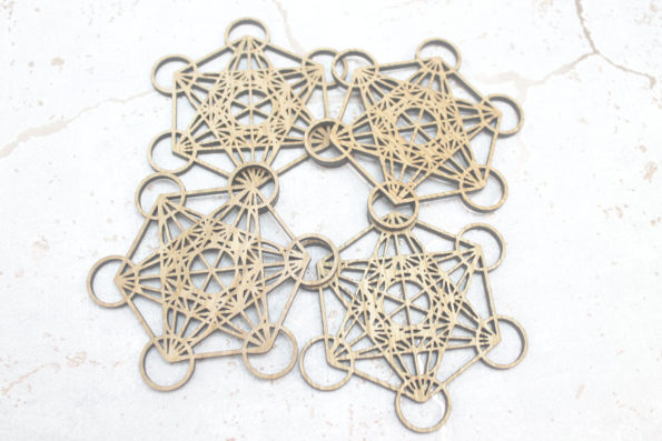 Sacred Geometry Metatron's Cube Laser Cut Coasters Set of 4