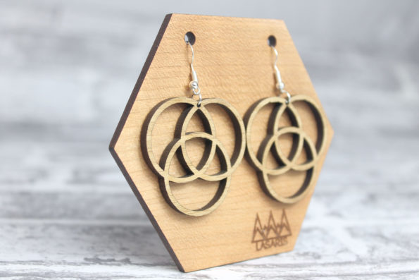 Flower of Life 3 Elements of Life Sacred Geometry Laser Cut Statement Earrings Natural Wood Jewellery