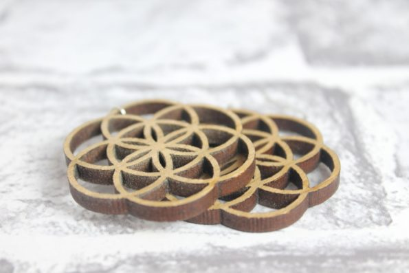 Flower of Life Foundations Sacred Geometry Laser Cut Statement Earrings Natural Wood Jewellery Laser Cut