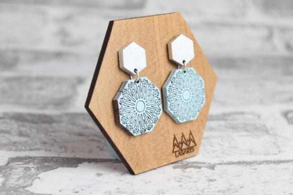 Geometric Earring Statement Earrings Dangle and Drop Earring Hexagon and Octagon Laser Cut