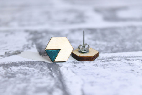 Hexagon Stud Earrings With Coloured Triangles - Wooden Laser Cut Geometric Jewellery - Eco Friendly and Sustainable