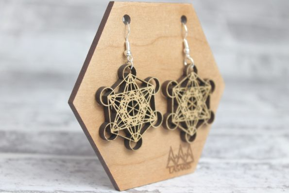 Sacred Geometry Metatron's Cube Laser Cut Statement Earrings Natural Wood Jewellery
