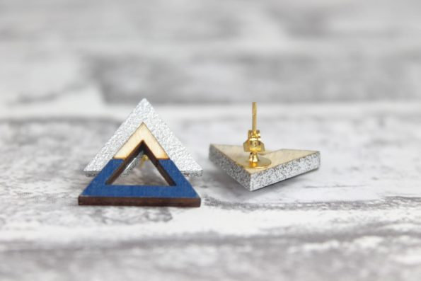 Triangle Earings, Silver and Royal Blue - Wooden Laser Cut Geometric Jewellery - Eco Friendly and Sustainable