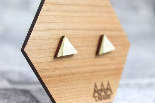Triangle Earings Studs with Gold - Wooden Laser Cut Geometric Jewellery - Eco Friendly and Sustainable