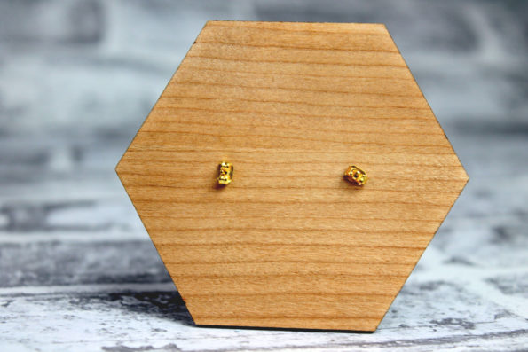 Triangle Earings Studs with Grey - Wooden Laser Cut Geometric Jewellery - Eco Friendly and Sustainable