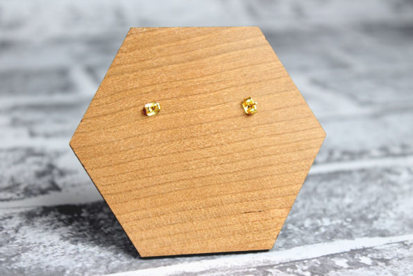 Triangle Earings with Gold and Matcha - Wooden Laser Cut Geometric Jewellery - Eco Friendly and Sustainable