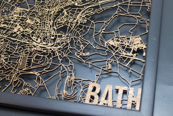Bath Wood Map Laser Cut Street Maps Wooden Map
