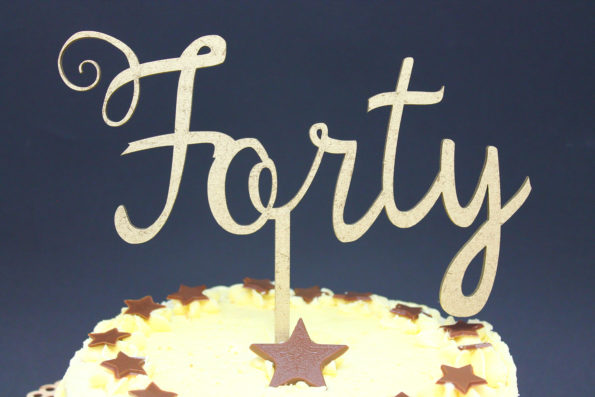 Cake Topper Age as Text Forty, Fifty and More Wood Luxury Premium Topper Keepsake