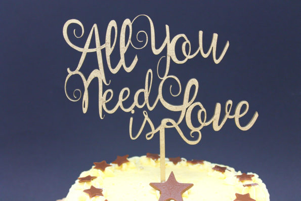 Cake Topper All You need is Love Solid Wood Luxury Premium Topper Keepsake