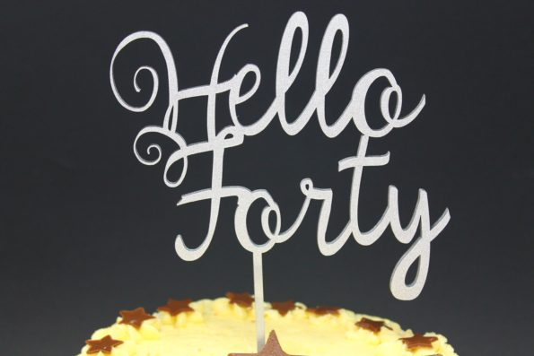 Cake Topper Hello Forty, Fify Sixty and more Mile Stone Years Luxury Premium Topper Keepsake
