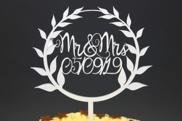 Cake Topper Mr and Mrs with Date Solid Wood Luxury Premium Topper Keepsake