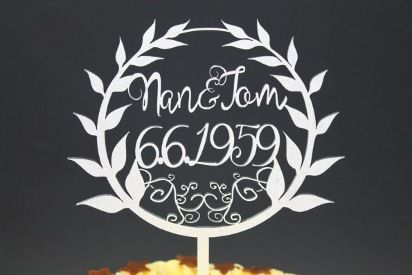 Cake Topper Name and Name with Date Solid Wood Luxury Premium Topper Keepsake