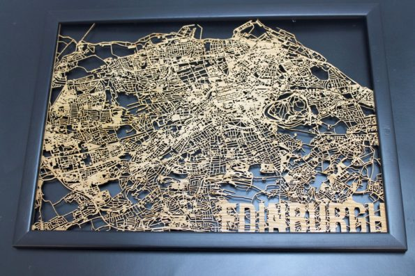 Edinburgh Wood Map Laser Cut Street Maps Wooden Map