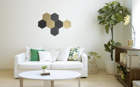 Honeycomb Hexagon Wallart 3D Black Gold Grey