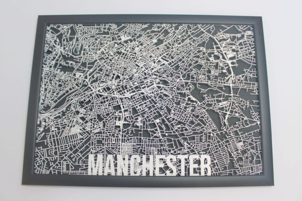 Manchester Laser Cut Street Maps Wooden Map