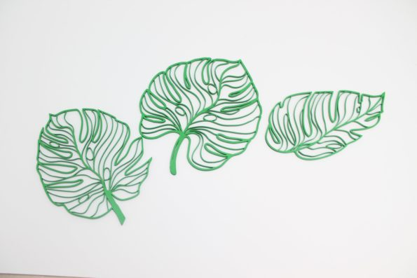 Monstera Leaf Wall Art Set of 3 Leaves, Botanical Leaf Home Decor, Tropical Wall Decor, Plant Leaves, Swiss Cheese Plant