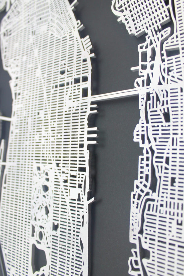 New York Manhattan Wood Map Laser Cut Street Map