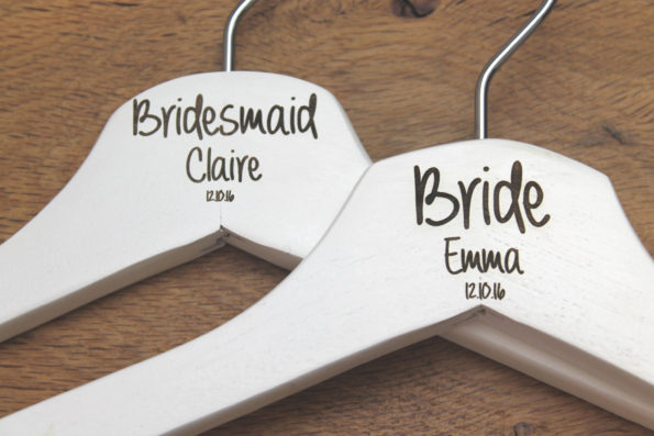 Personalised Bridal Wedding Hanger in Wood or White - Hanger Engraved Wedding Gift Bride, Bridesmaids and more