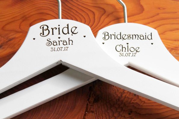 Personalised Bridal Wedding Hanger in Wood or White - Hanger Engraved Wedding Gift Bride, Bridesmaids and more.