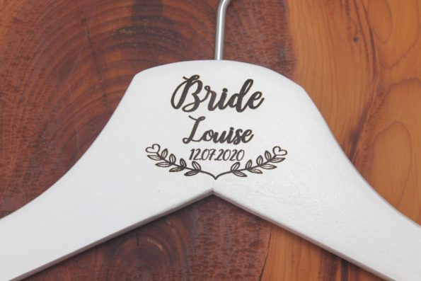 Personalised Bridal Wedding Hanger in Wood or White - Hanger Engraved Wedding Gift Bride, Bridesmaids and more - Floral Banner