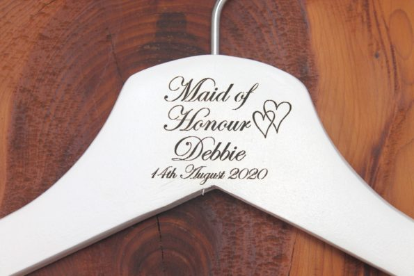 Personalised Bridal Wedding Hanger in Wood or White - Hanger Engraved Wedding Gift Bride, Bridesmaids and more - Hearts Style