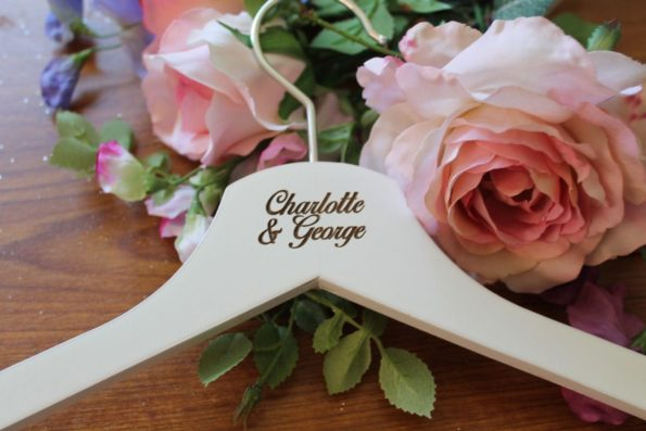 White Personalised Wedding Dress Hanger Wooden - Bridal Dress Coat Hanger Engraved Custom Text