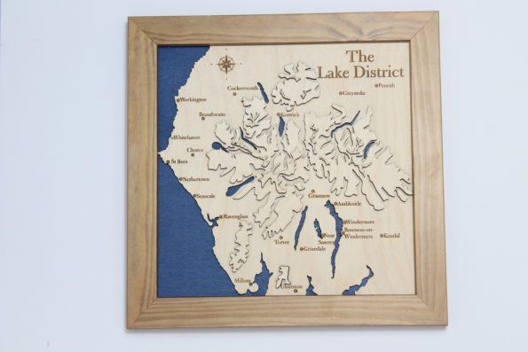 3D Lake District Map - Wooden Topographical Map