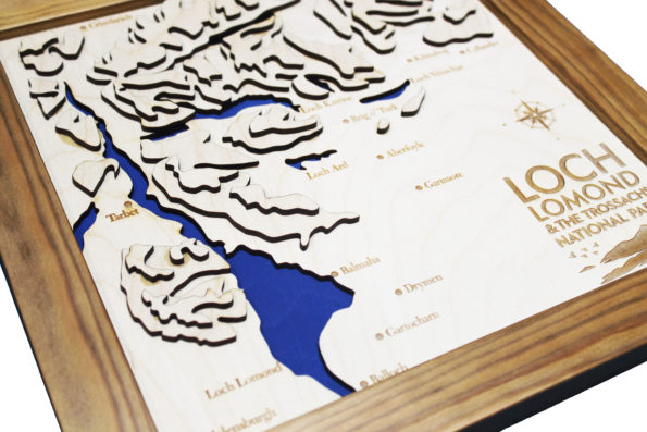 3D Loch Lomond and the Trossachs Map - Wooden Topographical Map