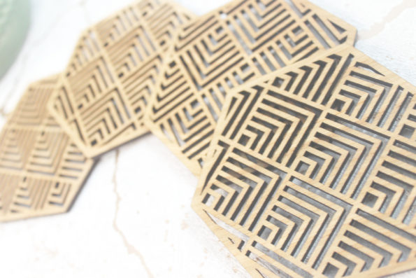 Buena Mexican Geometric Coasters Set of 4 Laser Cut Oak Wood