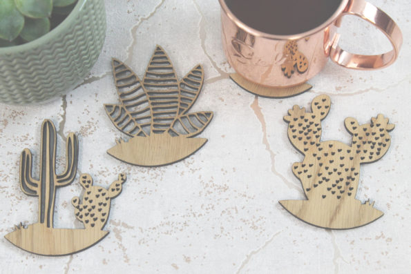 Cacti Coasters Set of 4 Cactus Laser Cut Oak Wood Coasters