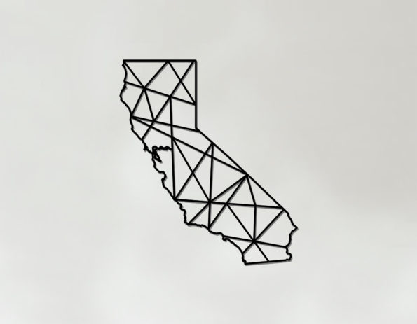 Geometric California Art - Wooden State Wall Art - California Gift