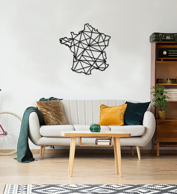 Geometric France Art - Wooden Country Wall Art - France Gift