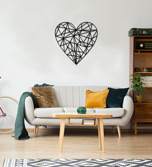 Geometric Heart Art - Wooden Country Wall Art - Heart Gift