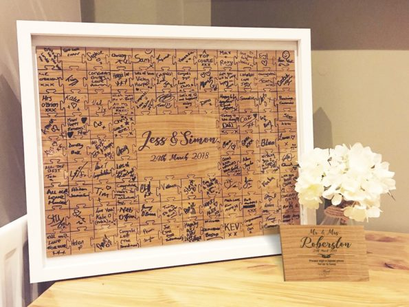 Jigsaw Guestbook Personalised with Sign Framed or Unframed - Script Style
