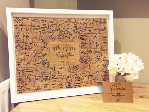 Jigsaw Guestbook Personalised with Sign Framed or Unframed - Signature Freehand Style