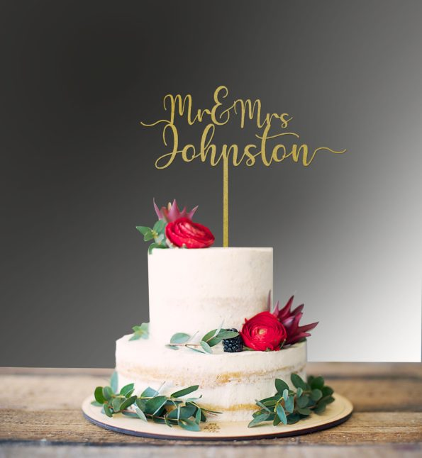 Cake Topper Mr and Mrs with Date Engagement Script Font Swirl at Ends Wedding Custom Personalised