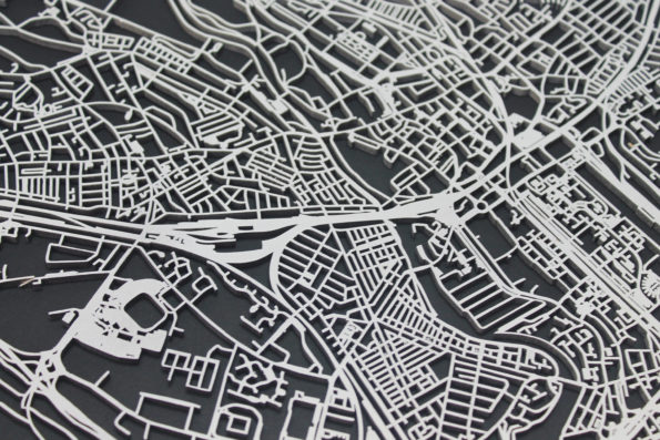 Cardiff Wood Map Laser Cut Street Maps Wooden Map