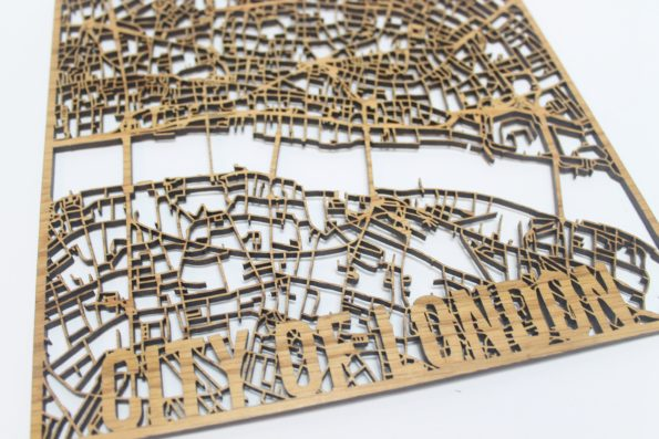 City of London Solid Wood Street Map Laser Cut Street Maps Wooden Map