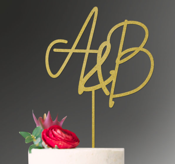 Initials Cake Topper Wedding Custom Personalised Initials Engagement Anniversary