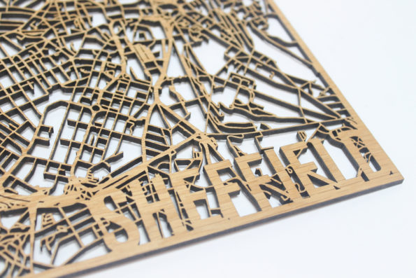 Sheffield Solid Wood Street Map Laser Cut Street Maps Wooden Map