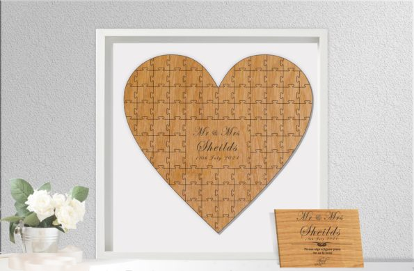 Heart Shaped Jigsaw Guestbook Personalised with Sign Framed or Unframed - Classic Style - Wedding Guestbook