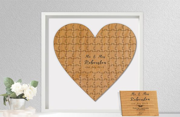 Heart Shaped Jigsaw Guestbook Personalised with Sign Framed or Unframed - Script Style - Wedding Guestbook
