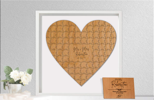 Heart Shaped Jigsaw Guestbook Personalised with Sign Framed or Unframed - Signature Freehand Style - Wedding Guestbook